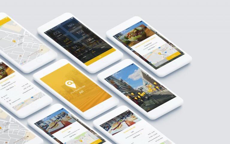 ARによる飲食店発見スマートフォンアプリ(仮想) UI/UX デザイン